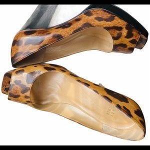 Stuart Weitzman Patent Leopard Print PeepToe Heels
